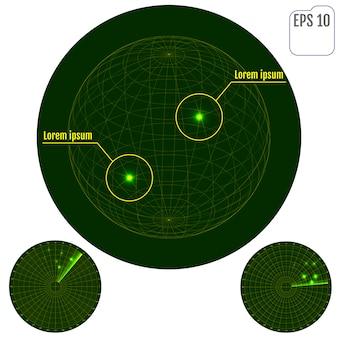 Cyfrowy radar z celami na monitorze