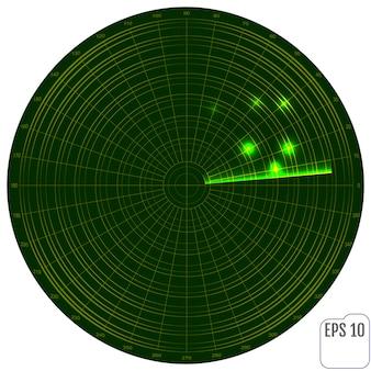 Cyfrowy radar z celami na monitorze.