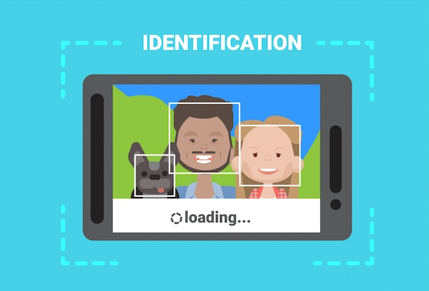 Cyfrowy skaner tabletu twarz użytkownika ładowanie system identyfikacji kontrola dostępu nowoczesna technologia