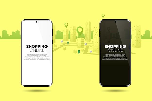 Cyfrowy sklep internetowy biały czarny smartfon w aplikacji do zakupów online wektor premium