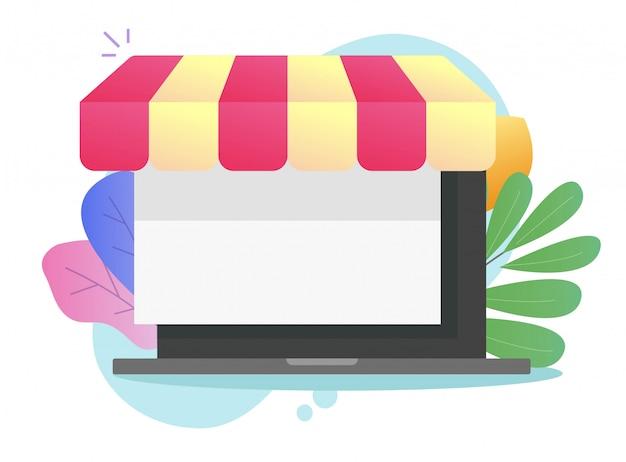 Cyfrowy sklep internetowy e-commerce ikona płaska ilustracja