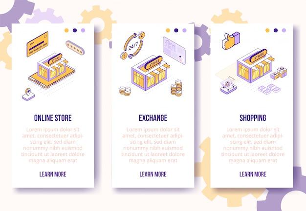 Cyfrowy sklep izometryczny koncepcja-sklep internetowy, wymiana, zakupy mobilny ekran aplikacji pionowe banery szablon