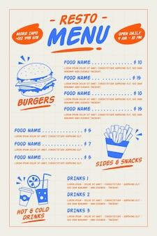Cyfrowy styl menu restauracji