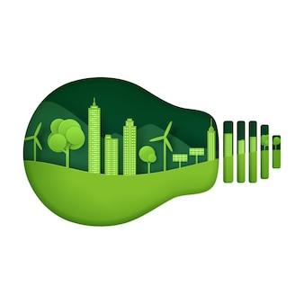 Cyfrowy styl rzemieślniczy krajobrazu przyrody, koncepcja ekologicznego miasta zielonego.