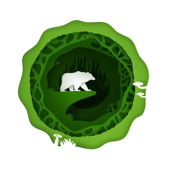 Cyfrowy styl rzemieślniczy zielonego lasu z niedźwiedziem.