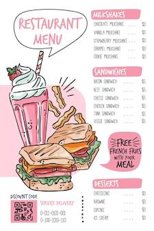 Cyfrowy szablon menu restauracji w formacie pionowym