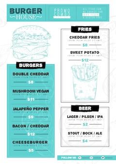 Cyfrowy szablon menu restauracji z ilustrowanym jedzeniem