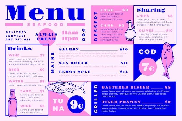 Cyfrowy szablon menu restauracji z pysznymi posiłkami w formacie poziomym