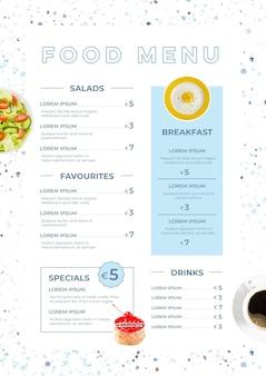 Cyfrowy szablon menu restauracji zilustrowany w formacie pionowym