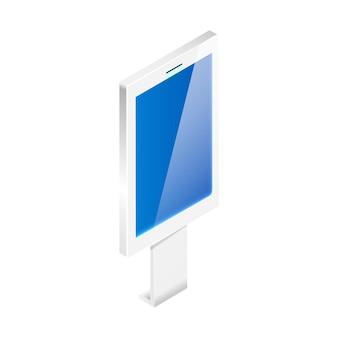 Cyfrowy szyld z interaktywnym wyświetlaczem izometrycznym ilustracji na białym tle