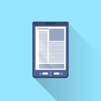 Cyfrowy tablet ebook ikona komputera na niebieskim tle