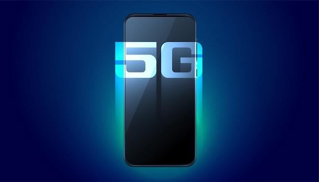 Cyfrowy telefon komórkowy piątej generacji szybka technologia tło