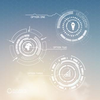 Cyfrowy wirtualny szablon infografiki z abstrakcyjnymi kształtami ikon biznesowych i trzema opcjami światła