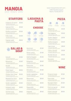 Cyfrowy wygląd menu restauracji