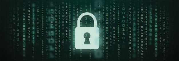 Cyfrowy zamek znak straży kod binarny tło danych cyber