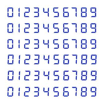 Cyfrowy zegar numer ustawiony na białym tle. dane elektroniczne do projektowania interfejsów różnych typów urządzeń.