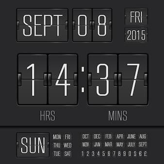 Cyfrowy zegar tygodniowy analogowej czarnej tablicy wyników