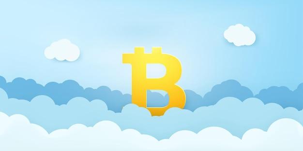 Cyfrowy znak waluty bitcoin nad chmurami