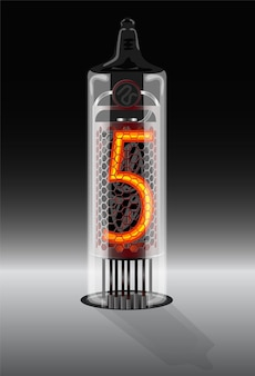 Cyfry 5 na wyświetlaczu lampy próżniowej w stylu vintage ilustracja wektorowa