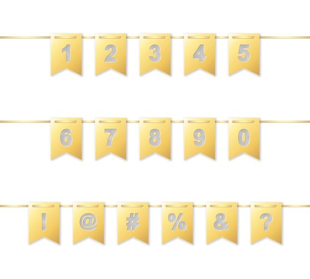 Cyfry i dziwne postacie na girlandzie ze złotego papieru