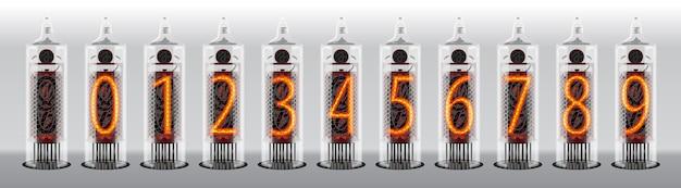 Cyfry na zabytkowym wyświetlaczu lamp próżniowych. ilustracja wektorowa