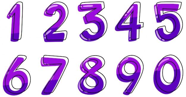 Cyfry od jeden do zera na białym tle