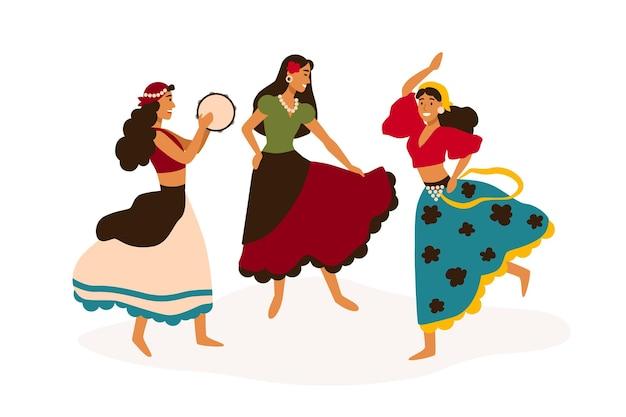 Cyganki tańczą płaskie wektor ilustracja. tancerki w tradycyjnych strojach z postaciami z kreskówek z tamburynem. pełen wdzięku panie w etnicznych strojach wykonujących boso. namiętne tancerki romskie