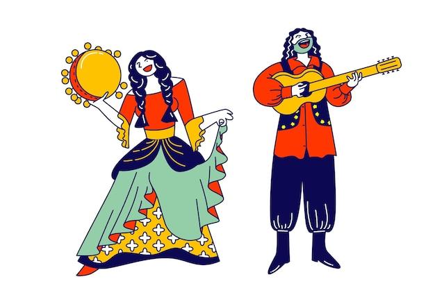 Cygańska para ubrana w etniczne stroje, tańczy i gra na gitarze i tamburnie. płaskie ilustracja kreskówka