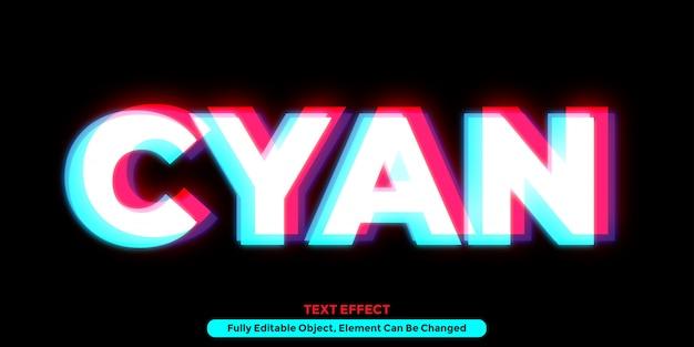 Cyjan świecący efekt tekstowy