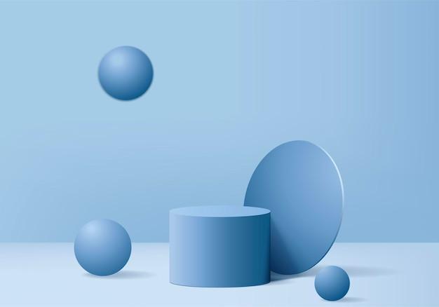 Cylinder abstrakcyjna minimalna scena z geometryczną platformą. renderowania tła lato z podium. stoisko do pokazania produktów kosmetycznych. prezentacja sceniczna na postumencie nowoczesny studyjny niebieski pastel