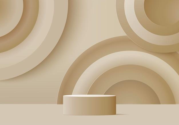 Cylinder abstrakcyjna minimalna scena z geometryczną platformą