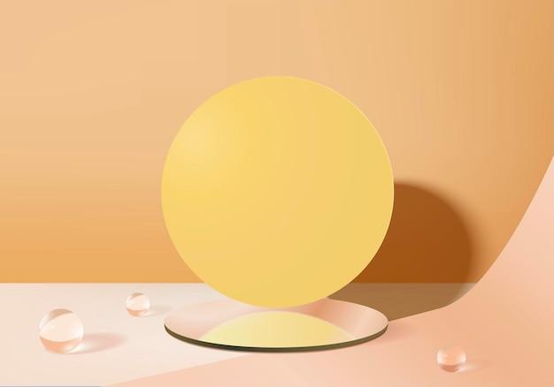Cylinder abstrakcyjna minimalna scena z platformą ze szkła kryształowego.