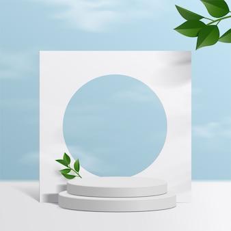 Cylinder biały podium z tłem nieba i liśćmi papieru. prezentacja produktu, scena do pokazania produktu kosmetycznego, podium, cokół lub podest. proste czyszczenie.
