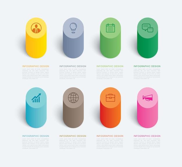 Cylinder infografika szablon 8 danych.
