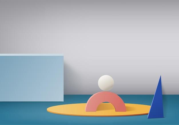 Cylindrowa abstrakcyjna minimalna scena z geometryczną platformą. letnie tło renderowania 3d z podium. stoisko do prezentacji produktów kosmetycznych. prezentacja sceniczna na cokole nowoczesne studio 3d w niebieskim pastelu