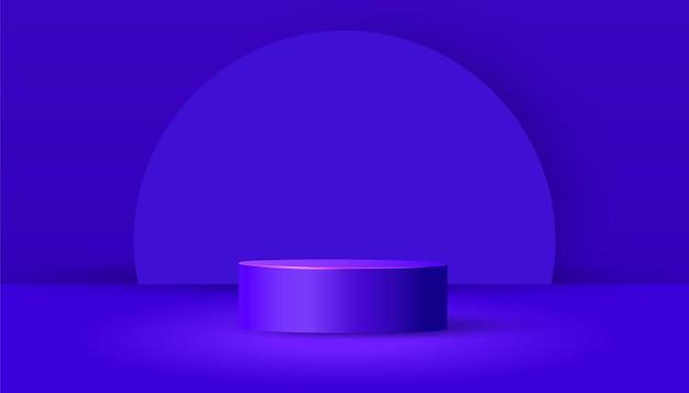 Cylindryczne podium z wyciętymi z papieru geometrycznymi kształtami i cieniem na fioletowym tle. minimalistyczna scena z geometrycznymi formami do prezentacji produktów