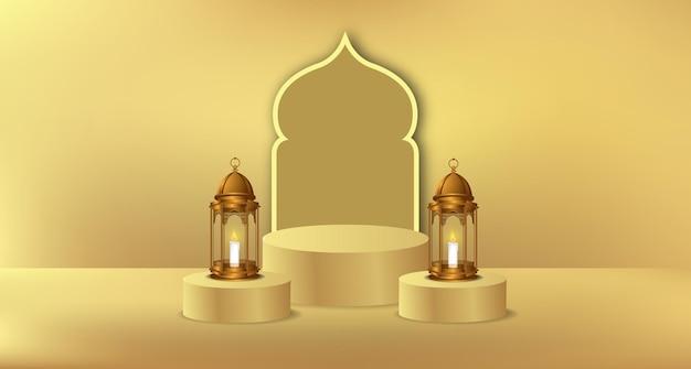 Cylindryczny ekspozytor na podium na ramadan z ilustracją złotej latarni i dekoracją meczetu na drzwiach