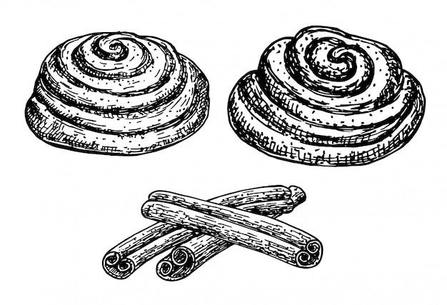 Cynamonowe bułki. szkic tuszem na białym tle. pieczywo. ręcznie rysowane ilustracji. styl retro.