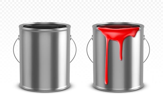 Cynowe wiadro z czerwonymi kapiącymi kroplami i pustym metalowym garnkiem