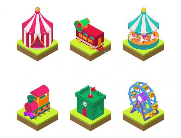Cyrk izometryczny show rozrywka namiot markiza festiwal na świeżym powietrzu z paskami i flagami znaki karnawałowe