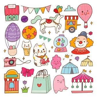 Cyrk pokaż kawaii doodle zestaw ilustracji wektorowych