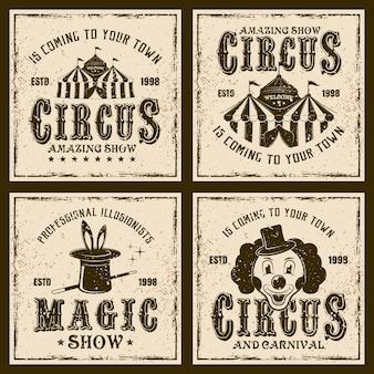 Cyrk pokaż vintage emblematy lub nadruki na tle z grunge tekstur