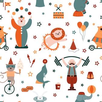 Cyrk wzór z klaunami, akrobatami, lwami, fokami