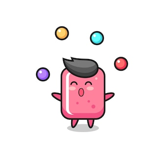 Cyrkowa kreskówka gumy do żucia żonglująca piłką, ładny styl na koszulkę, naklejkę, element logo