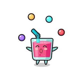 Cyrkowa kreskówka z sokiem truskawkowym żonglująca piłką, ładny styl na koszulkę, naklejkę, element logo
