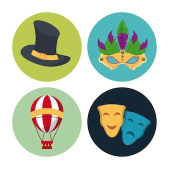 Cyrkowe karnawałowe okrągłe ikony