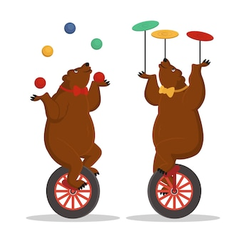 Cyrkowe misie żonglują na rowerze. ilustracja kreskówka wektor.