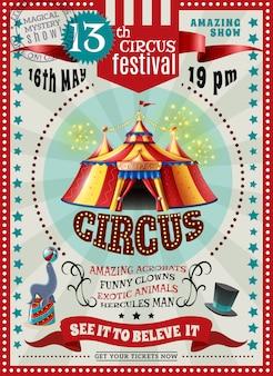 Cyrkowy festiwal ogłoszenie retro plakat
