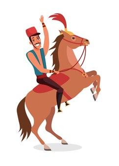 Cyrkowy jeździec, performer pokazowy siedzący na tresowanym zwierzęciu