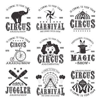Cyrkowy niesamowity zestaw czarnych emblematów, etykiet, logo i znaczków typograficznych w stylu vintage na białym tle